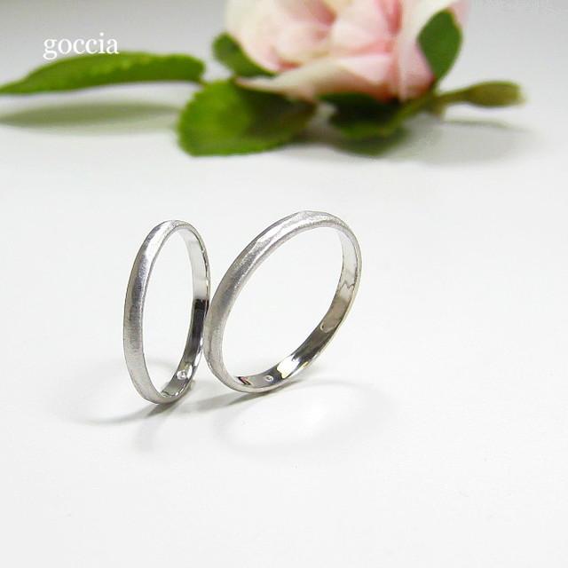 プラチナ・細めの結婚指輪