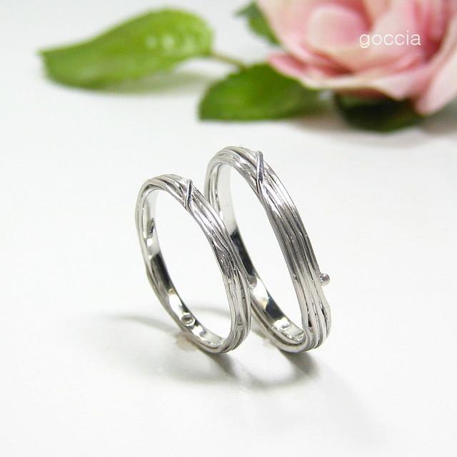 ハードプラチナの結婚指輪・植物