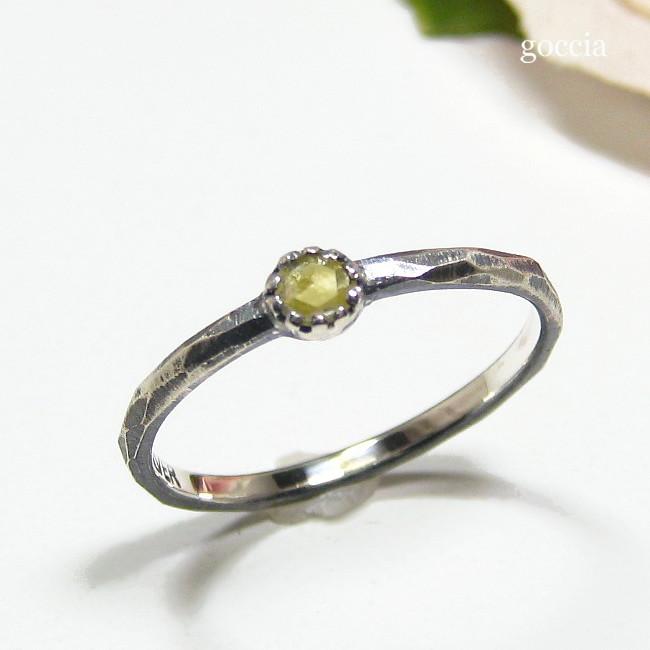 ローズカットダイヤモンドを、シルバー925に留めました