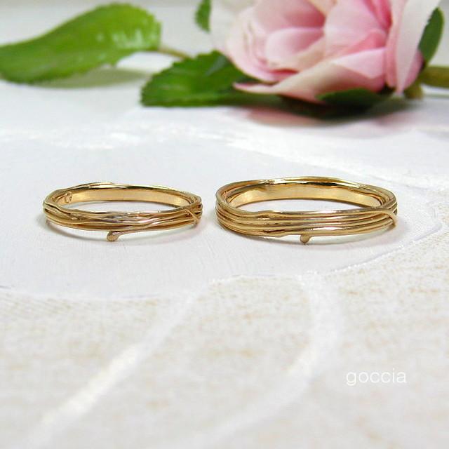 つる植物のK18、結婚指輪